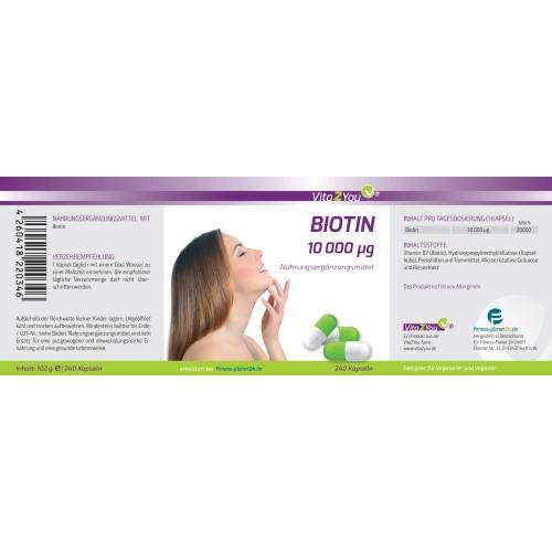 Βιοτίνη (Βιταμίνη Β7) 10.000 mcg– 240 κάψουλες Βιταμίνες