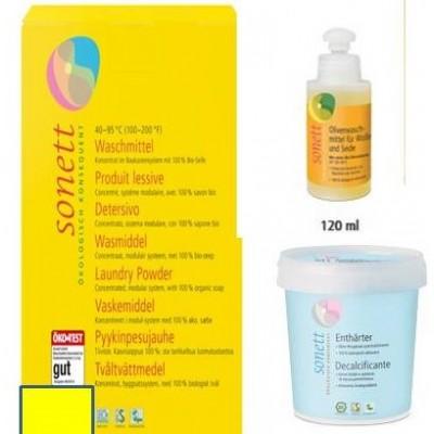 Σετ 1: Απορρυπαντικό σκόνη, 1,2 κιλά + Απορρυπαντικό υγρό 120 ml + Αποσκληρυντικό νερού 500γρ -Sonett Οικολογικά προϊόντα / Υπόλοιπα
