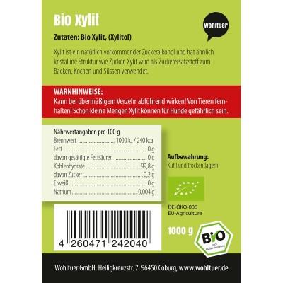 1 κιλό βιολογικό γλυκαντικό ξυλιτόλης, υποκατάστατο ζάχαρης. Wohltuer Βιολογικά Προϊόντα